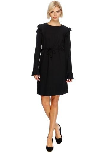 Uzun Kollu Belden Bağlamalı Elbise-Black Pepper